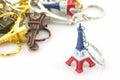 Souvenir key chain of mini eiffel tower Tour Eiffel. Royalty Free Stock Photo