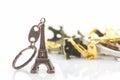 Souvenir key chain of mini eiffel tower & x28;Tour Eiffel& x29;. Royalty Free Stock Photo