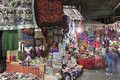 Souvenir market in aguas calientes peru seen evening Royalty Free Stock Photos