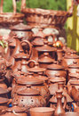 Souvenir pottery on market stand outdoor Royalty Free Stock Photo