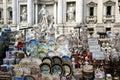 Souvenir roma little in ceramics in rome italy in background trevi fountain Stock Image
