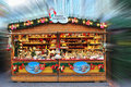 Souvenir shop in Christmas market Royalty Free Stock Photography