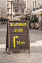 Souvenir shop notice board in the street Royalty Free Stock Photo