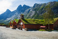 Souvenir shops in the traditional norwegian style trollveggen norway august a picturesque place on lookout located Royalty Free Stock Image