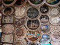 Souvenirs metal plates with different patterns and designs in an istanbul grand bazaar shop turkey Stock Photography