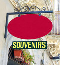 Souvenirs sign with a blank red above it Stock Image