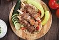 Souvlaki or kebab, meat skewer with pita bread Royalty Free Stock Photo