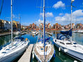 Sovereign harbour marina eastbourne yachts moored in the east sussex england uk Stock Photo