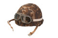 Soviet army mechanized infantry camouflaged helmet with goggles isolated Royalty Free Stock Photography