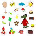 Soviet cartoon characters cheburashka and crocodile gena and their toys Stock Photography