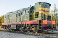 Soviet diesel locomotive on the railroad close up Royalty Free Stock Photos