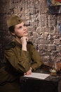 Soviet female soldier in uniform of world war ii dreams Royalty Free Stock Image