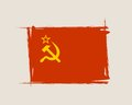 Soviet grunge flag with little scratches on surface. Royalty Free Stock Photo