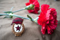 Soviet guards badge and two red carnations still life dedicated to victory day may Stock Image