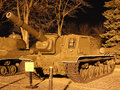 Soviet heavy armored self propelled gun isu kiev ukraine march in museum at night Stock Photos
