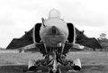 Soviet jetfighter mig black and white photo Stock Photography