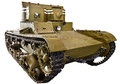 Soviet light infantry twin-turret tank T-26 isolated Royalty Free Stock Photo