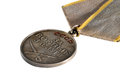 Soviet medal for battle merit on white background macro shoot perspective view Stock Photography
