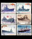Soviet military theme stamps Stock Photography