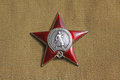 Soviet order red star insignia two orders for paticipation and heroism in great national war world war second Stock Image