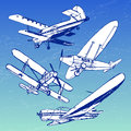 Soviet retro planes collection Royalty Free Stock Photo