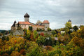 Sovinec castle in northern moravia of the holy order of knights the autumn garb Stock Photo
