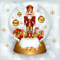 Sowglobe with Nutcracker Royalty Free Stock Images