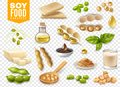 Soy Food Products Transparent Set Royalty Free Stock Photo