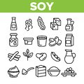 Soy Products, Food Linear Vector Icons Set