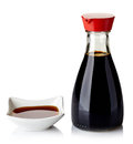 Soy sauce bottle and bowl of on white background Royalty Free Stock Photo
