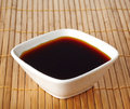 Soy sauce bowl of on bamboo background Stock Photos