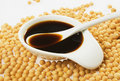 Soy sauce and soybean Stock Photo