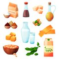 Soy and soybean food products, vegan eating tofu Royalty Free Stock Photo