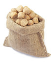 Soya chunks protein in a jute bag over white background Stock Images