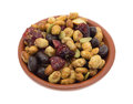 Soybean cranberry trail mix in a small bowl Royalty Free Stock Photo