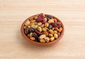 Soybean cranberry trail mix in small bowl on table Royalty Free Stock Photo