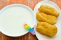 Soybean milk with deep fried dough stick china delicious food Stock Photo