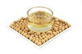 Soybean oil from soy bean Royalty Free Stock Photo