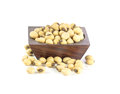Soybeans in wood bowl isolated on white background Stock Photo
