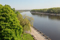 Sozh river embankment near the Palace and Park Ensemble in Gomel, Belarus. Royalty Free Stock Photo