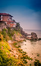 Sozopol coastline beautiful seaside in the beach town in bulgaria Royalty Free Stock Images