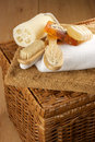 SPA accessories on basket Stock Photos