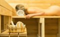 Spa accessories in sauna. Royalty Free Stock Photo