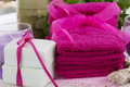 Spa accessories, towels, soap and candles Royalty Free Stock Photo