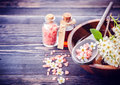 Spa. Aromatherapy essential oils, flowers, sea salt. Spa set Royalty Free Stock Photo