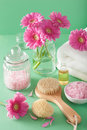 Spa aromatherapy with gerbera flowers essential oil brush Royalty Free Stock Photo