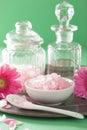 Spa aromatherapy with pink salt gerbera flowers Royalty Free Stock Photo