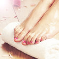Spa background of beautiful female feet, flowers and petals Royalty Free Stock Photo