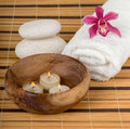 Spa background decoration with candles orchid and stones Stock Image