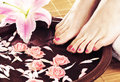 Spa background with female feet flowers and petals a beautiful legs a lily flower Royalty Free Stock Image